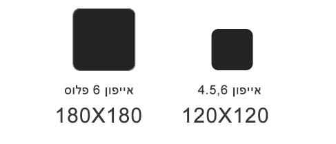 גודל של אייקון באייפון