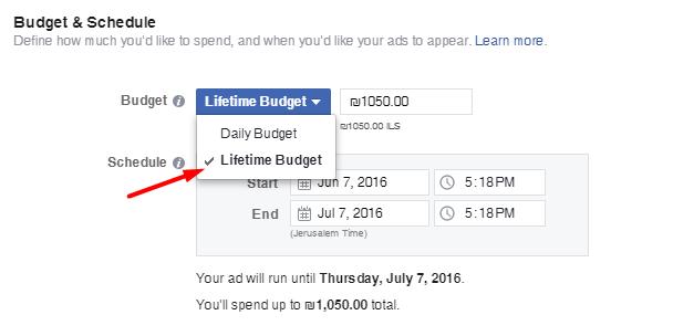 תקציב חד פעמי לקמפיין בפייסבוק